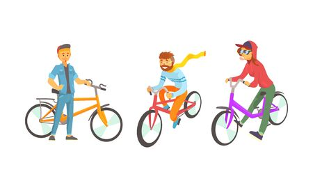 Bike Riders Wearing Hipster Clothing Vector Set