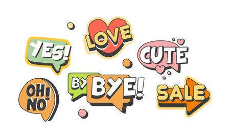 Speech Labels with Text Vector Set. Flat Shapes with Words 矢量图像