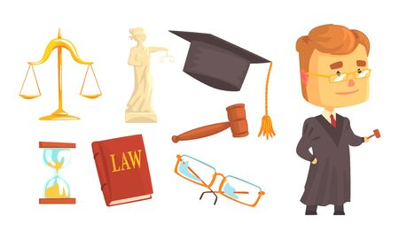 Lawyer Attributes and Judge Wearing Gown Vector Set