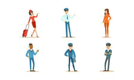 Aircraft Staff Characters. Pilot and Stewardess at Work Vector Illustrations Set