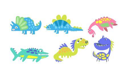 Cute Cartoon Dinosaur Characters Vector Set. Kid Fantasy Design