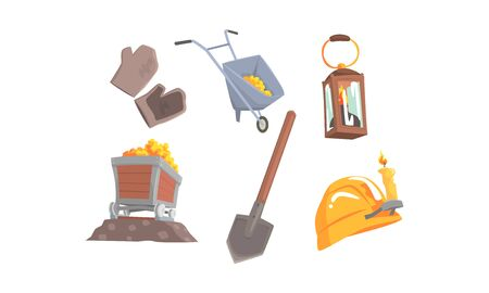 Gold Mining Attributes Vector Set. Mineral Crystal Searching Collection 일러스트