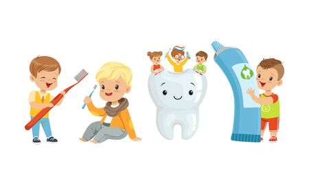 Little Kids Taking Care of Tooth Purity Brushing it With Toothbrush Vector Illustration