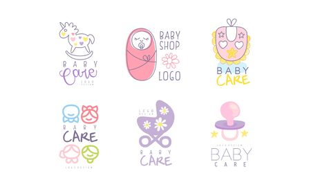 Baby-Shop-Varianten-Design-Vektor-Set.