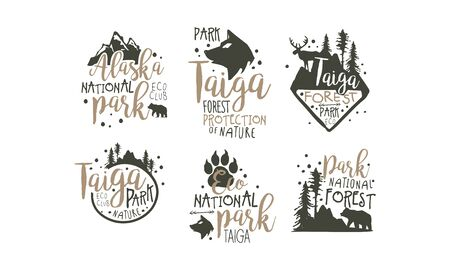 Alaska National Park Promo Signs Series With Wilderness Elements Silhouettess