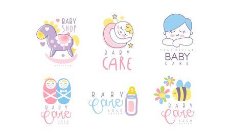 Baby Shop Variant Design Vector Set. Illusztráció