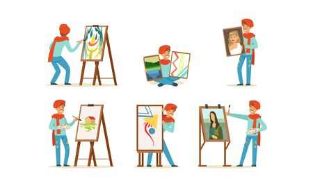 Artist Character Painting on Canvas Vector Set