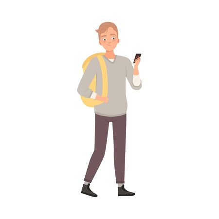 Teenager Male With Palms In Pockets Flat Vector Illustration