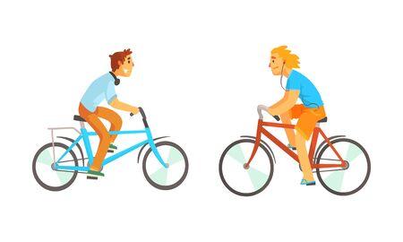 Bike Riders Riding Bike and Listening to Music Through Headphones Vector Set