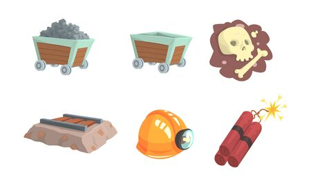 Gold Mining Attributes Vector Set. Mineral Crystal Searching Collection 向量圖像