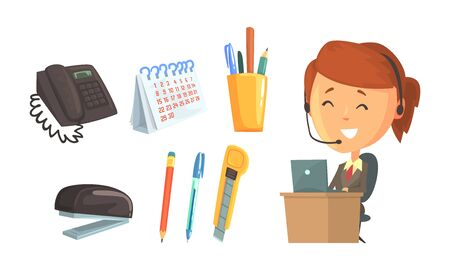 Office Supplies and Smiling Woman Wearing Headphones Working in Call Center Vector Illustration