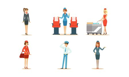 Aircraft Staff Characters. Stewardess Serving Drinks on the Plane Vector Illustrations Set