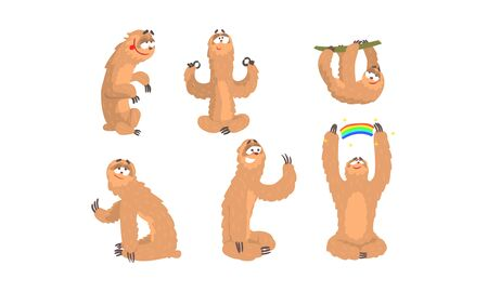 Sloth Cartoon Character Expressing Different Emotions Vector Set