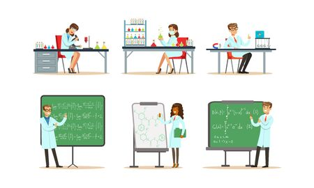 Scientists Doing Researches and Calculations in the Laboratory Vector Illustrations Set
