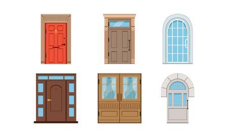 Colored Entrance Door Vector Set. Interior Design Concept