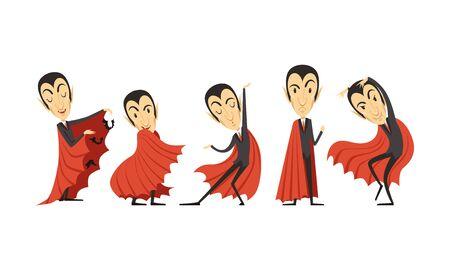 Count Dracula Cartoon Character in Different Poses Vector Set Иллюстрация