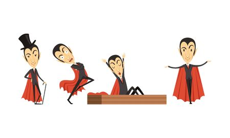 Count Dracula Cartoon Character in Different Poses Vector Set Иллюстрация