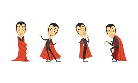 Count Dracula Cartoon Character in Different Poses Vector Set Ilustrace