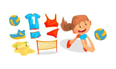 Beach Volleyball Attributes and Girl Playing with Ball Vector Set