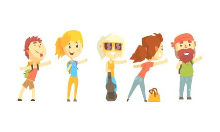 Young Tourist Characters Wearing Comfy Outfit Vector Illustrations