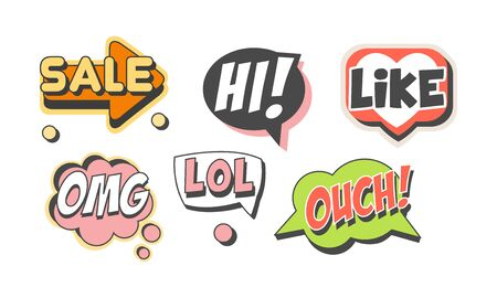 Speech Labels with Text Vector Set. Flat Shapes with Words 向量圖像