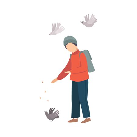 Child Stopped Feeding Pigeons on His Way Home from School Vector Illustration Ilustração