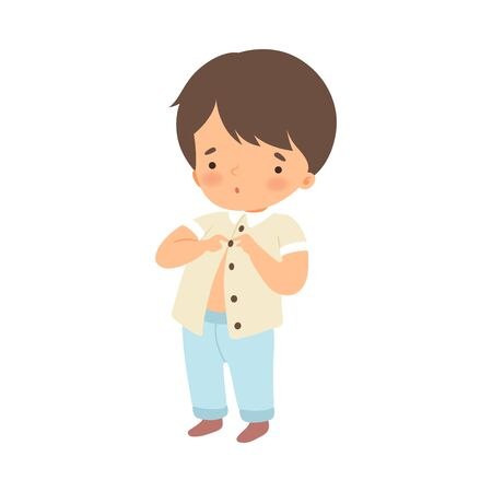 Little Boy Dressing Up Himself Vector Illustration