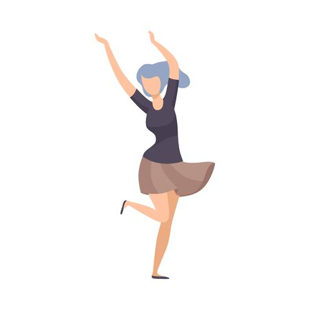 Girl With Blue Hair And In Short Skirt Cheerfully Dancing At Party Vector Illustration Isolated On White Background