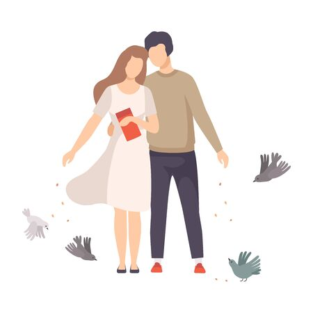 Young Couple Walking Along the Park and Feeding Pigeons with Crumbles Vector Illustration Ilustração