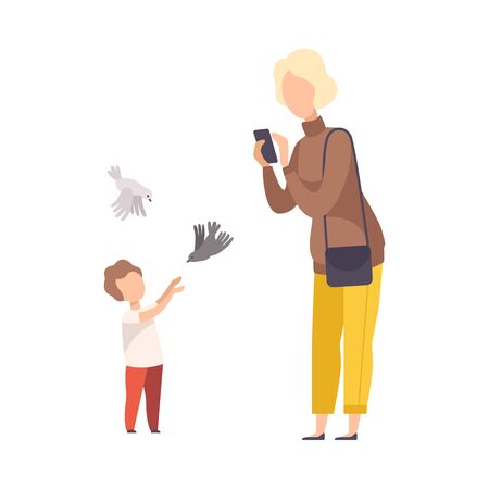 Faceless Blonde Woman Making Photo of Kid with Pigeons in the Park Vector Illustration Ilustração