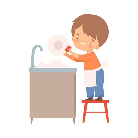 Little Boy Washing Dishes on His Own Vector Illustration