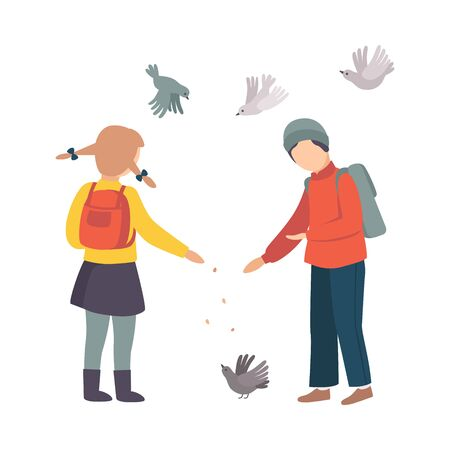 Children Stopped Feeding Pigeons on Their Way Home from School Vector Illustration