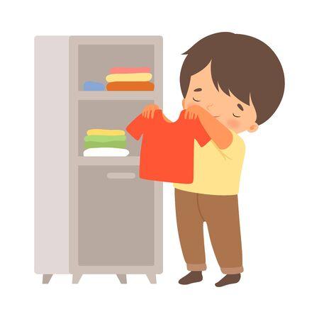 petit garçon, plier, sien, habillement, dans, garde-robe, vecteur, illustration