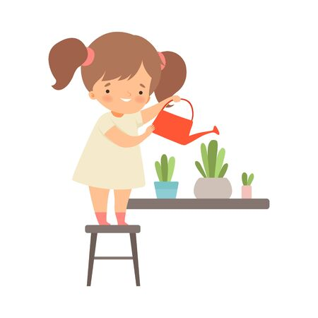 Little Girl Standing on Chair and Watering Flowers Vector Illustration