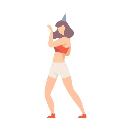 Young Girl In Shorts And In Tank Top Cheerfully Dancing At A Party Vector Illustration Isolated On White Background Ilustração