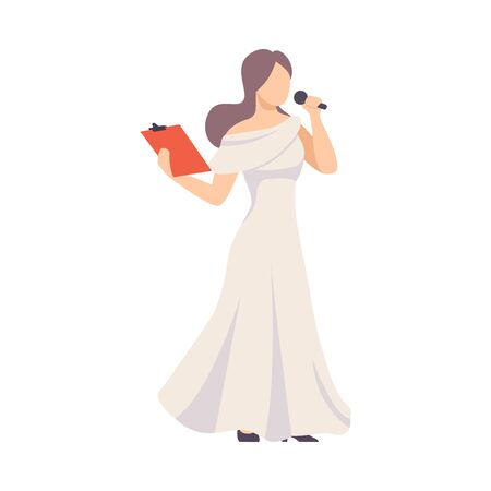 Girl In Long White Dress With Tablet Using Microphone To Talk Or Sing Vector Illustration Isolated On White Background Illustration