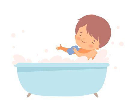 Little Boy Bathing Himself Sitting in Bathtub Vector Illustration