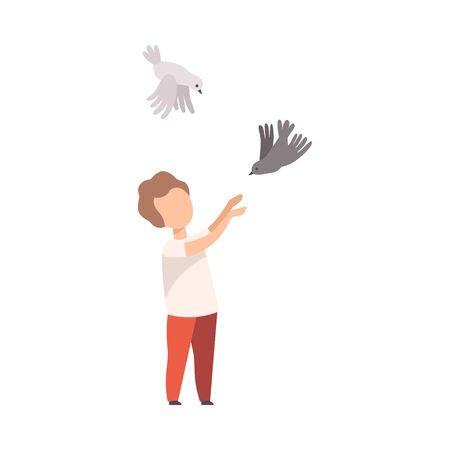 Little Boy Walking in the Park and Catching Pigeons Vector Illustration
