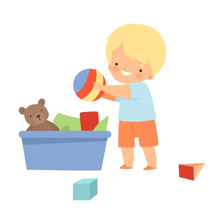 Little Boy Gathering His Toys and Tidy Up His Room Vector Illustration  イラスト・ベクター素材