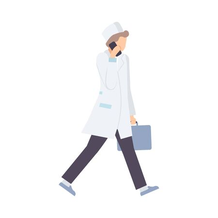 Male Emergency Doctor Hurries To Patient Flat Vector Illustration