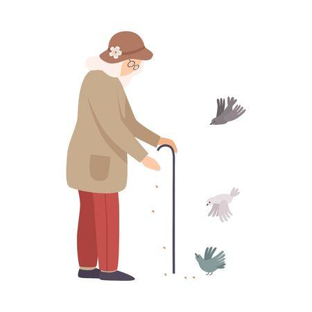 Senior Woman Standing and Feeding Pigeons Vector Illustration