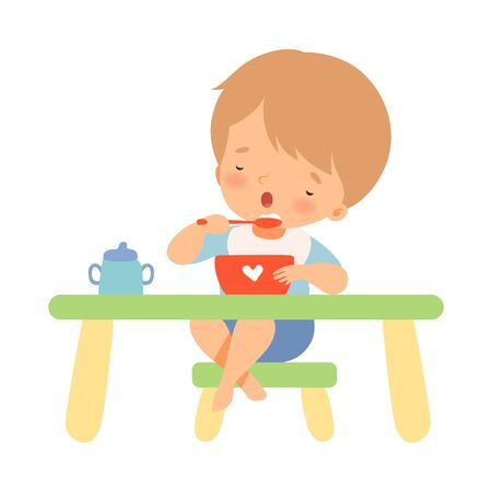 Little Boy Eating On His Own Vector Illustration 版權商用圖片 - 134315720