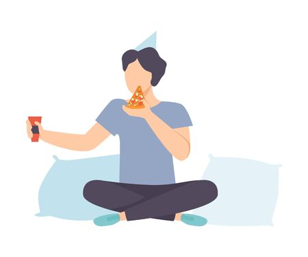 Young Man In Party Hat Sitting With Pizza And Glass Of Wine Vector Illustration