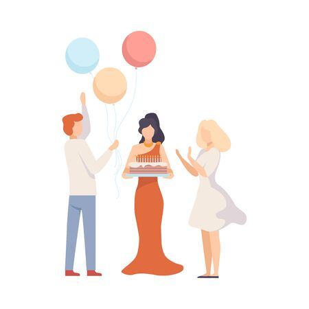 Birthday Celebration, People With Festive Cake And Surprise With Balloons At Party Vector Illustration Isolated On White Background Ilustracja