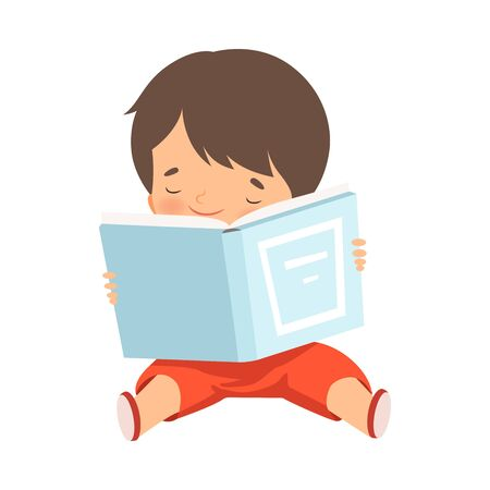 Boy Character Sitting on Floor and Learning How to Read  イラスト・ベクター素材