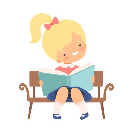 Little Girl Sitting on Bench and Learning to Read Vector Illustration