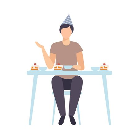 Guy Sitting Alone At Festive Table And Drinking Tea With A Cake Vector Illustration Isolated On White Background