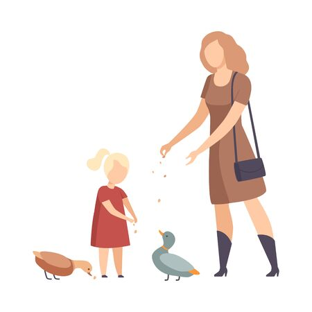 Woman Walking with Her Daughter in the Park and Feeding Ducks Vector Illustration Ilustração