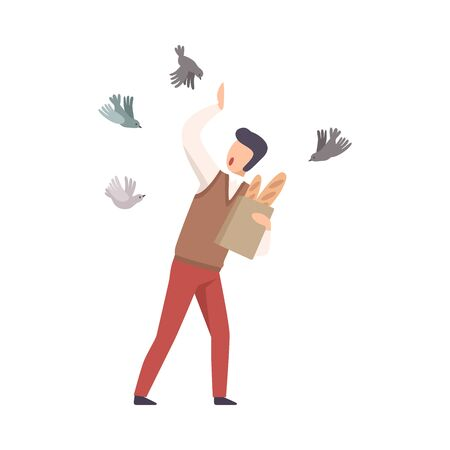 Young Faceless Man scared of Pigeons Vector Illustration