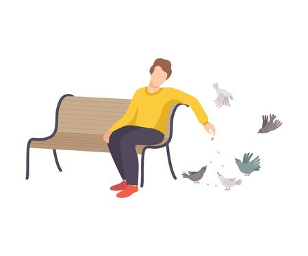 Young Man Wearing Sweater and Sitting on Bench Feeding Pigeons Dropping Crumbles on the Ground Vector Illustration Фото со стока - 134315981